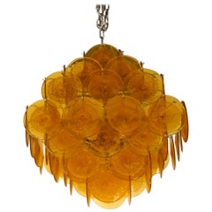"Vistosi Mid-Century Modern Orange Murano Glass Chandelier ""Disks"", 1985"
