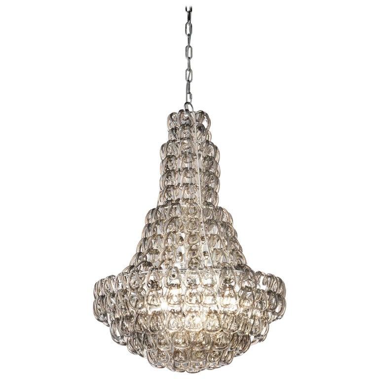 For Sale: Brown (Crystal and Smoky) Vistosi MiniGiogali SP CLA Suspension Light in Glass by Angelo Mangiarotti