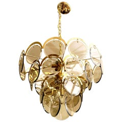 Vistosi Murano Beveled Glass and Brass Chandelier Vintage