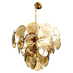 Vistosi Murano Beveled Glass Disk and Brass Chandelier Vintage