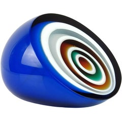 Vistosi Murano Blue White Orange Black Bullseye Italian Art Glass Paperweight