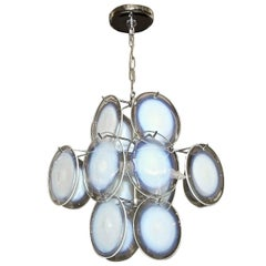 Vistosi Murano Clear and Opalescent Glass Disc Chandelier Pendant Light