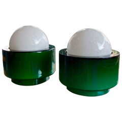 Vistosi Murano Glass, Pair of Table Lamps or Night Lights, Green and White