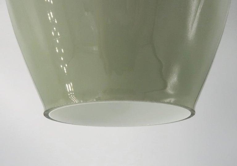 Vistosi Murano Italian Modern Green, Grey Opaline Glass Pendant, 1960s In Good Condition For Sale In Copenhagen, DK