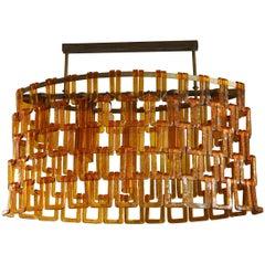 Vistosi Murano Oval Orange Glass and Brass Chandelier, 1970