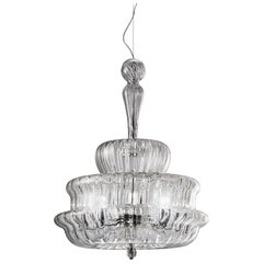 Vistosi Novecento SPG Pendant Light in Crystal Striped by Romani Saccani