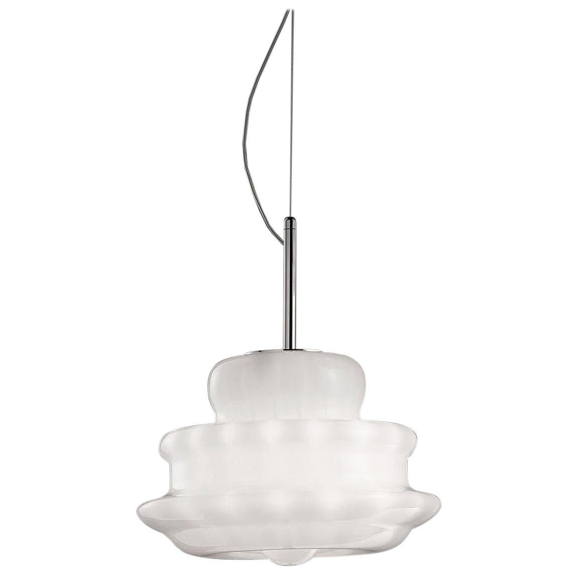 Vistosi Novecento SPP Pendant Light in White Striped by Romani Saccani Architett