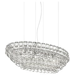 Vistosi Oval Giogali SP OV1 Chandelier with Chrome Base by Angelo Mangiarotti