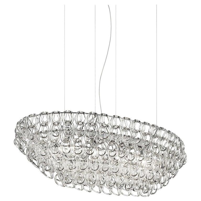For Sale: Clear (Transparent Crystal) Vistosi Oval Giogali SP OV1 Chandelier with Chrome Base by Angelo Mangiarotti