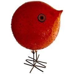 Vistosi Pulcino Bird by Alessandro Pianon Murano Glass Sculpture Copper Legs