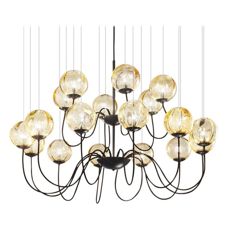 For Sale: Yellow (Amber and Transparent) Vistosi Puppet SP 18 P Suspension Light by Romani Saccani Architetti