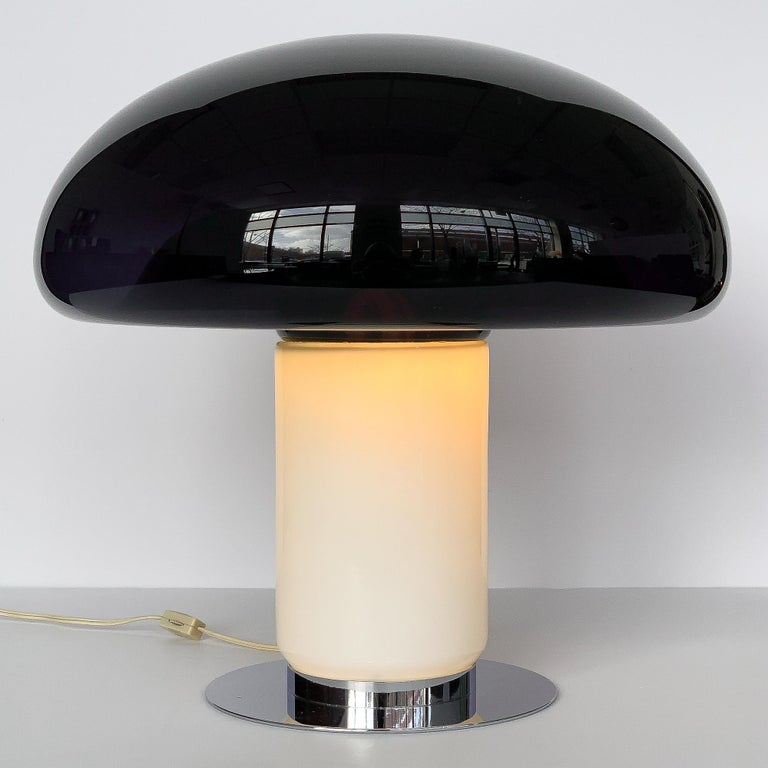 Blown Glass Vistosi Purple / Amethyst Mushroom Table Lamp For Sale