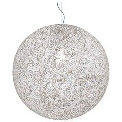 Vistosi Rina Pendant Light in White and Murrina by Barbara Maggiolo