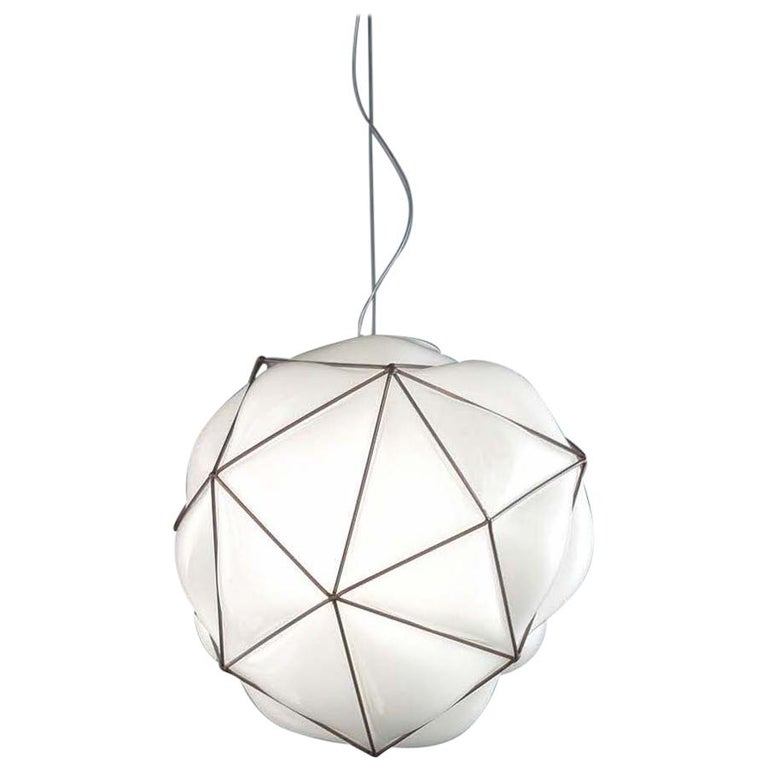 Vistosi Semai SP M Pendant in Glossy White by Alberto Saggia e Valerio Sommella For Sale