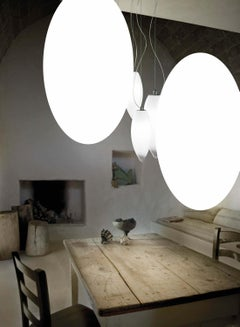 Vistosi Small Led Baco SP P Suspension Light in White Glass by Mauro Olivieri