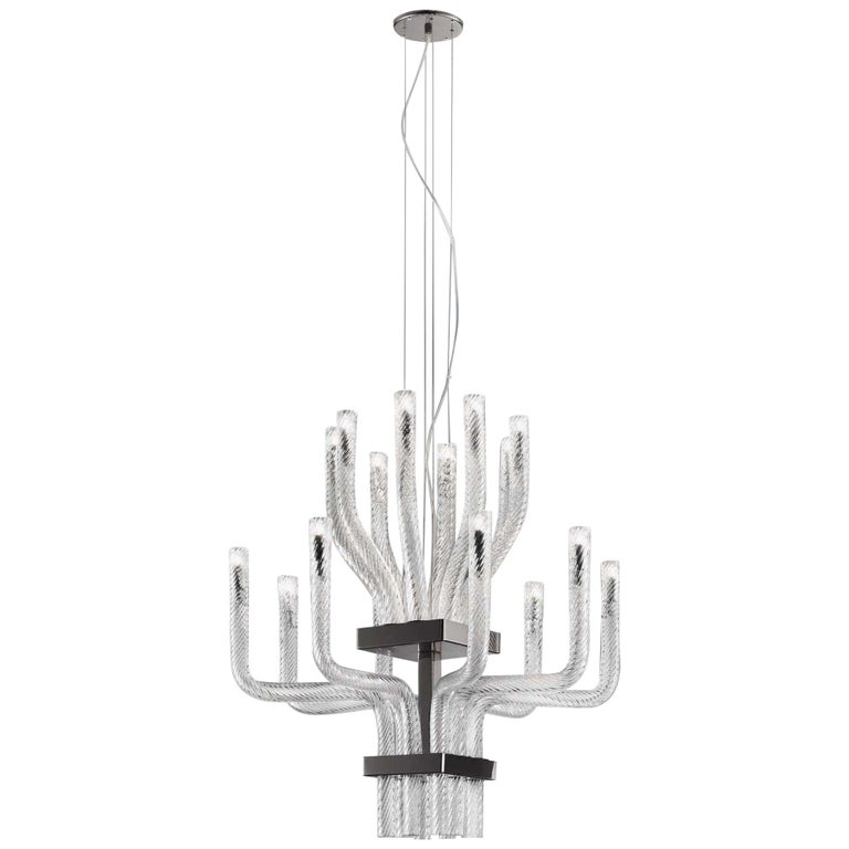 Vistosi Stardust SP DOP Pendant in Crystal Glass with Black Frame by Francesco  For Sale