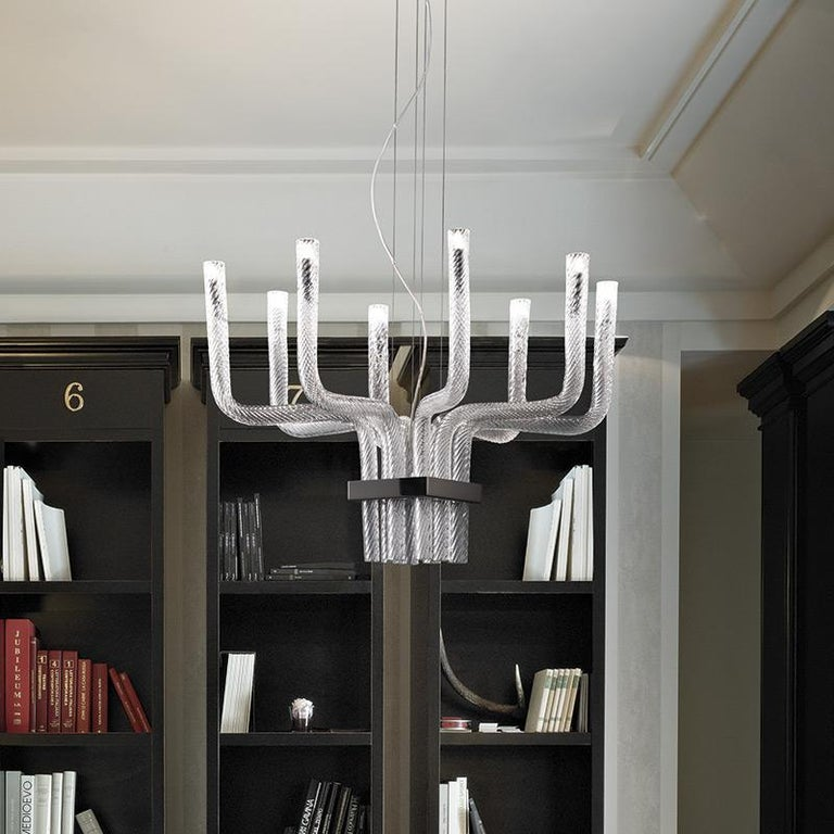 Modern Vistosi Stardust SP Q Pendant in Crystal Stripped Glass by Francesco Lucchese For Sale