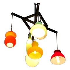 Vistosi Style Lighting Installation with Vintage Murano Glass Pendants