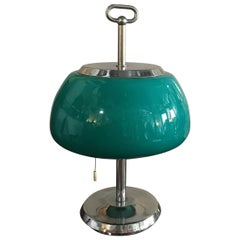 Vistosi Table Lamp Glass Metal Crome, 1960, Italy