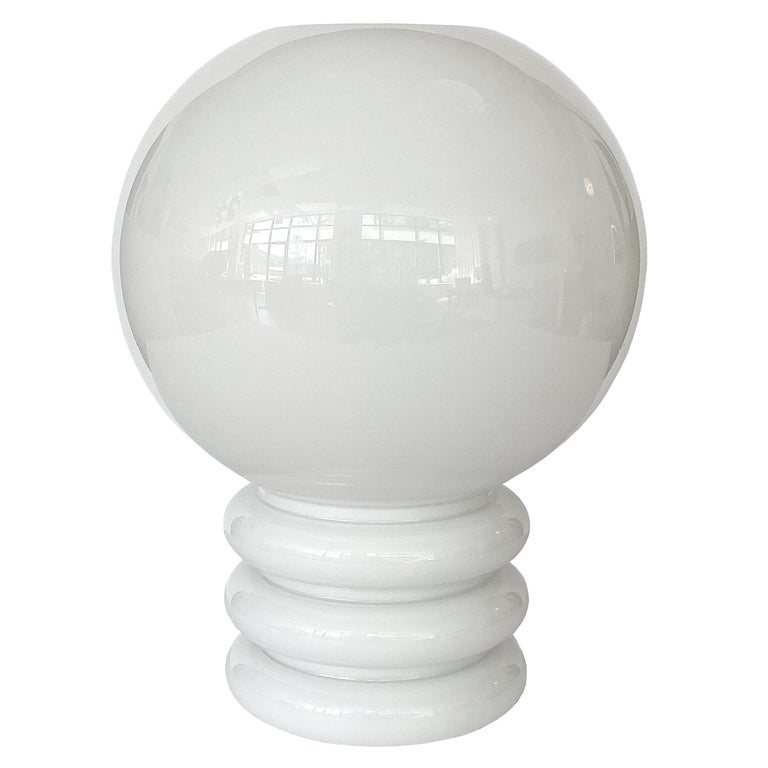 Vistosi White Cased Glass Sculptural Table Lamp For Sale