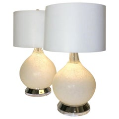 Vistosi White Textured Murano Glass with Chrome & Lucite Base Table Lamps, Pair
