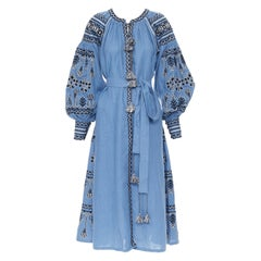 VITA KIN blue linen black white ethnic embroidered puff sleeve belted dress XS