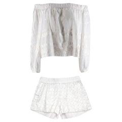 Vita Kin White Embroidered Bardot Top and Short Set S