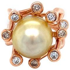 Vitale 1913 18 Karat Rose Gold 22.0 Carat Pearl Diamond Cocktail Ring