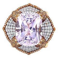 Vitale 1913 18 Karat Rose Gold 23.24 Carat Morganite Diamonds Cocktail Ring