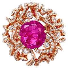 Vitale 1913 18 Karat Rose Gold 7.05 Carat Ruby Diamond Cocktail Ring