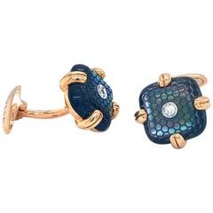 18 Karat Rose Gold Black Mother of Pearl Diamond Cufflinks