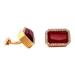 Vitale 1913 18 Karat Rose Gold Carnelian Diamond Cufflinks
