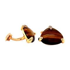 Vitale 1913 18 Karat Rose Gold Tiger Eye Diamond Cufflinks