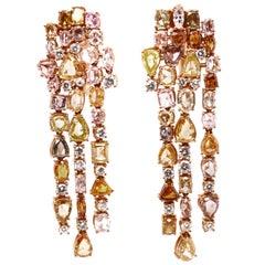 18 Karat Rose Gold White Fancy Yellow Diamond Chandelier Earrings