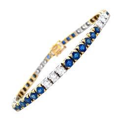 18 Karat White and Yellow Gold Diamond Sapphire Link Bracelet