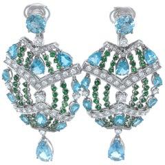 Vitale 1913 18 Karat White Gold Apatite Diamond Chandelier Earrings