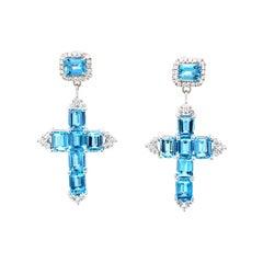 Vitale 1913 18 Karat White Gold Aquamarine Diamond Cross Earrings