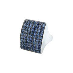 Vitale 1913 18 Karat White Gold Blue Sapphire Signet Ring
