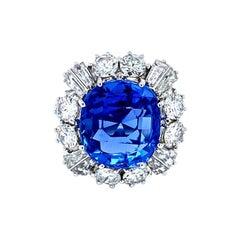 Vitale 1913 18 Karat White Gold Ceylon Sapphire Diamond Cocktail Ring