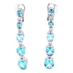 Vitale 1913 18 Karat White Gold Diamond Aquamarine Drop Earrings