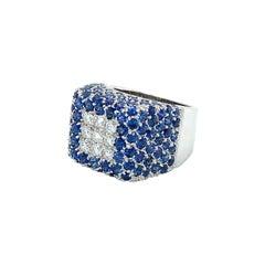Vitale 1913 18 Karat White Gold Diamond Blue Sapphire Signet Ring