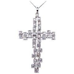 Vitale 1913 18 Karat White Gold Diamond Cross Pendant