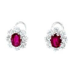 Vitale 1913 18 Karat White Gold Diamond Ruby Drop Earrings