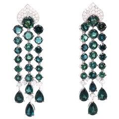 Vitale 1913 18 Karat White Gold Diamond Sapphire Chandelier Earrings