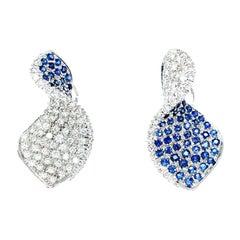 Vitale 1913 18 Karat White Gold Diamond Sapphire Drop Earrings