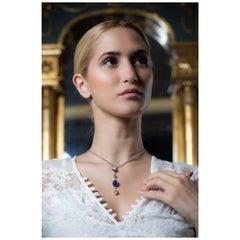 Vitale 1913 18 Karat White Gold Emerald Pink Diamond Pendant