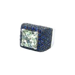 Vitale 1913 18 Karat White Gold Green Beryl Blue Sapphire Signet Ring