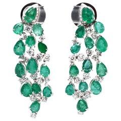 Vitale 1913 18 Karat White Gold Green Emeralds Diamond Chandelier Earrings