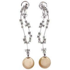 Vitale 1913 18 Karat White Gold Japanese Pearl Diamond Chandelier Earrings