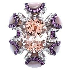Vitale 1913 18 Karat White Gold Morganite Sapphire Diamond Cocktail Ring